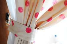 handmade polk-a-dot curtain