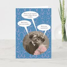 Funny vintage engagement card - tap/click to personalize and buy  #humor #engagement #card #wedding #couple Funny Vintage, Vintage Humor, Vintage Images, When We Get Married, Got Married, Engagement Cards, Getting Engaged, Custom Greeting Cards, Card Sizes