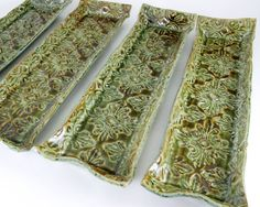 Handmade Damask Olive Dish  Pottery Candle Tray  by LaPellaPottery, $20.00