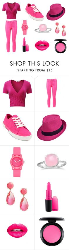 """PINK"" by otakuprincess997 ❤ liked on Polyvore featuring J Brand, Lauren Ralph Lauren, Skechers, BillyTheTree, Kate Spade, MAC Cosmetics and Nevermind"