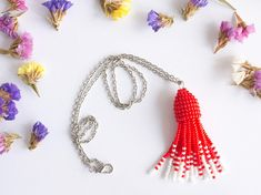 Items similar to Red tassel necklace, scarlet red & whitest white beaded tassels brush choker on chain 20 inches, Boho style on Etsy Beaded Tassel Necklace, Scarlet, Tassels, Red And White, Crochet Earrings, Drop Earrings, Trending Outfits, Unique Jewelry, Handmade Gifts