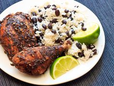 Jamaican Jerk Chicken with Coconut Rice and Plantain Chips | http://www.GrubKit.com