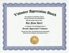 Volunteer appreciation award certificate - custom gift
