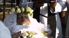 Shan Johnson in her open casket during her funeral.