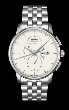 Mido Men's Baroncelli II Complication Chronograph with white dial. style #: M8607.4.11.1 www.midowatch.com