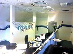 Client:Innovative IT's office -corporate Graffiti mural - hand painted logo design #graffiti #interiordesign #office graffiti