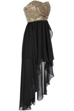 Black Gold Sequin High Low Dress