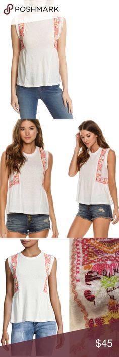 Free people Embroidered Tank Top NWT Infuse your off-duty wardrobe with cool, carefree vibes in this soft cotton-blend from Free People, finished with boho- inspired embroidery for a signature touch. Crewneck, sleeveless with rolled armholes, embroidery details at sides, pulled over style. NWT Free People Tops Tank Tops
