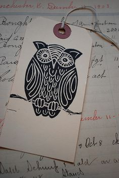 Owl by JenniferConway, via Flickr ~ wonderful woodblock style print...more stitchpiration, I love owls!