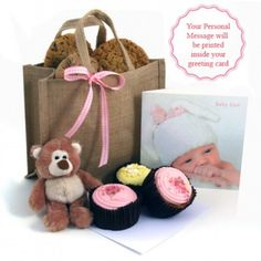 Cookies and cupcakes are always warmly received so we've designed this lovely baby girl gift set to celebrate the birth of a beautiful baby girl._x000D__x000D_Gift includes a natural jute handled bag together with a lovely illustrated greeting card featuring a newborn baby girl. With 3 large delicious cookies and 3 scrummy cupcakes in lemon and strawberry flavours together with the cutest little bear for baby to keep this gift is sure to be a big hit!