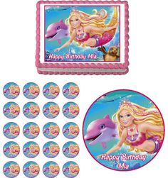 Barbie Mermaid Edible Birthday Party Cake & Cupcake Topper Decoration Icing Sheet
