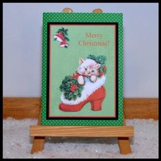 Christmas kitten card front decoupage on Craftsuprint designed by Toni Martin - made by Jackie Bullock -  Design is printed onto best quality print medium I have used {{CUPcc21710 180gm light card}} The main design image is trimmed , matt
