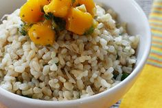 brown coconut rice with cilantro & mango salsa