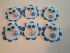Set of 6 pc Handmade Felt White Snowflake Owl by flyingfelt, $3.99?....totally craft able....