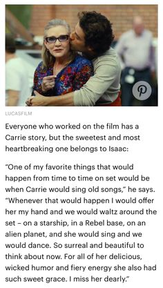 —  Oscar Isaac on Carrie Fisher                               http://ew.com/movies/2017/08/10/star-wars-last-jedi-leia-organa-carrie-fisher/