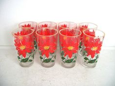 Vintage Poinsettia Drinking Glasses  Christmas by thedancingwren