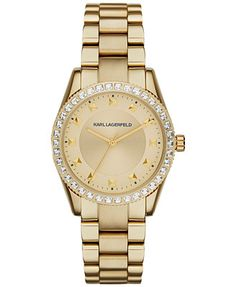 Karl Lagerfeld Women's Petite Stud Gold Ion-Plated Stainless Steel Bracelet Watch 34mm KL2807