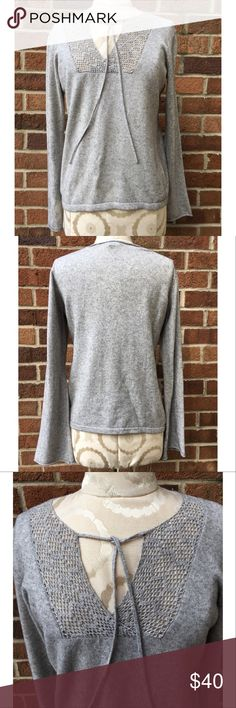 J.CREW COTTON & CASHMERE SWEATER Like new condition. Gray J.Crew sweater with knitted top neck embellishment with strings to tie. Sleeves are slightly flared. Cashmere and cotton. No flaws! Perfect sweater for fall, super soft. No trades. Please view photos before purchase. Thanks!! J. Crew Sweaters