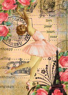 Alterado El arte del collage de la bailarina de la danza del vintage original de color rosa