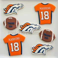 Denver Bronco cookies - Kookie Kreations by Kim