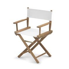 This outdoor chair is Skagerak's take on a classic Director's Chair. Simple in design and big on comfort, the Director's Chair is available in teak with a white sun texture seat/back. Room Chairs, Side Chairs, Dining Chairs, Furniture Chairs, Chiavari Chairs, Bistro Chairs, Office Chairs, Side Tables, Furniture Ideas