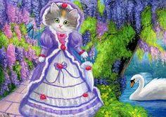 Kitten cat Victorian dress wisteria swan lake landscape original aceo painting  #Miniature
