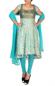 Cream Blue Turqoise Anarkali With Uneven Hemline  Rs. 7,400