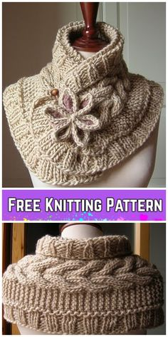 Knitting Patterns Scarf Cable Knit Scarf Neck Warmer with Flower Free Patterns Crochet Cowl Free Pattern, Cable Knitting Patterns, Knit Vest Pattern, Free Knitting, Cowl Patterns, Neck Pattern, Crochet Scarves, Crochet Shawl, Cable Knit Scarves