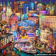 Liverpool Walk (medium) by Keith Drury is a signed limited edition print. Other prints by Keith Drury are available from Rennies Gallery. Liverpool Life, Liverpool History, Liverpool England, Project Life Cards, Cityscape Art, Fairytale Art, Art For Art Sake, City Art, Best Cities