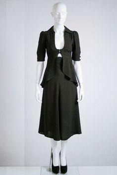 vintage sexy 60s black crep peek a boo Ossie Clark skirt suit
