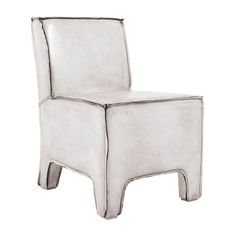 MAX ARMLESS LEATHER SIDE CHAIR  WHITE   Accent Chairs   Seating   Living    HD