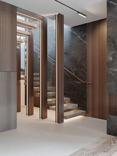 """Stairs in project """"Аpartment in Barvikha Level Residence"""" by Ab-architects Living Room Partition Design, Room Partition Designs, Interior Design Living Room, Interior Decorating, Home Stairs Design, Interior Stairs, House Design, Staircase Lighting Ideas, Feature Wall Design"""