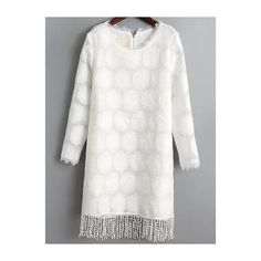 Fringe Organza Straight Dress ($23) ❤ liked on Polyvore featuring dresses, white, white long-sleeve dresses, long sleeve dress, embellished dress, white sleeve dress and white shift dress