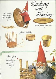 Gnome Basketry and Weaving Elfs Elves Baby by OLDBOOKSMAPSPRINTS