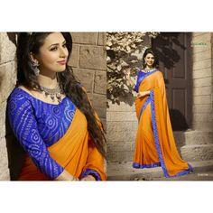 Gorgeous work wear orange printed saree