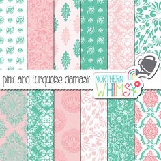 Pink and Turquoise Damask Digital Paper Pack – turquoise and pink damask patterns – scrapbook paper - printable paper - commercial use