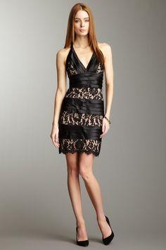 BCBGMAXAZRIA Centurain Satin and Lace Sheath Dress