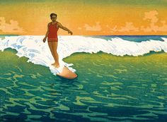 In 1918, the noted English artist and printmaker Charles W. Bartlett painted Duke Kahanamoku on his famous long board, perfectly capturing the romance of surf riding.