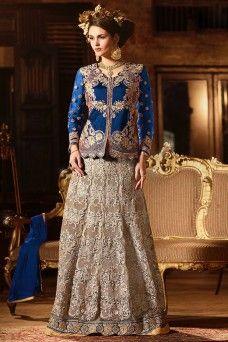 Blue and Brown Long Koti Style Stylish Party Wear Net Heavy Embroidered and Stone Work Lehenga   #anarkali #salwar #suits #salwarsuit #sarees #sari #lehenga #choli #lehengacholi #gown #partywear #festive #stylish #traditional #designer #wedding #bollywood #pantstyle #patiala #punjabi #straightcut #churidar #plazzo #palazzo #dhotistyle #india #pakistani #canada #Germany #usa #uk #Bangkok #gebastore #bridal #indianbride #embroidered #shalwar #modelsuit #casualwear #ethnicwear #printed #digita