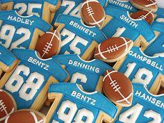 Footballs and Jerseys Gourmet Cookies, Yummy Cookies, Cupcake Cookies, Sugar Cookies, Cupcakes, Football Treats, Football Cookies, Biscotti, Cookie Designs