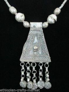 "Vintage Ethiopian Tribal Pendant and Necklace(20.5"")"
