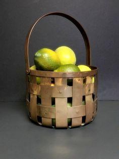 Vintage India Brass Weaved Riveted Basket