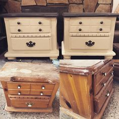 """20 Me gusta, 1 comentarios - Paulette Tourne Couch (@prairiechickenvintage) en Instagram: """"Project for this afternoon - turning my husbands beat up old bachelor nightstands into something…"""""""