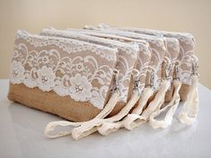 Bridesmaid+set+of+6+burlap+clutches+with+by+VixDesignStudio,+$183.50