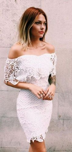 Dress Lace White Bodycon Bustier Crochet Fashion Pinterest Party Outfit Summer Engagement Dresses And