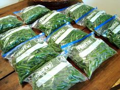 Frozen green beans are a staple at our house three seasons out of the year. They are easy to grow in the summer, produce prolifically, and . Freezing Fruit, Freezing Vegetables, Fresh Vegetables, Fruits And Veggies, Freezing Green Beans, String Bean Recipes, Green Bean Recipes, Veggie Recipes, Home Canning