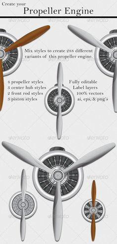 Buy Propeller Engine by theefarmer on GraphicRiver. Description The file contains a vector propeller engine. I made 4 propeller styles, 3 center hub styles, 2 front rod . Aviation Tattoo, Pilot Tattoo, Engine Tattoo, Soda Can Art, Hydrogen Fuel, Wonderful Machine, Aircraft Engine, Marine Mom, Beer Label