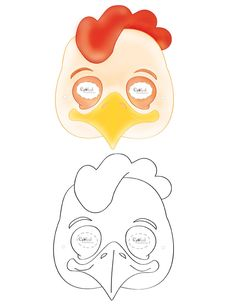 We've created a black and white Chicken mask and colored Chicken mask, choose your preference. Then cut all around, cut holes for the eyes, and punc...