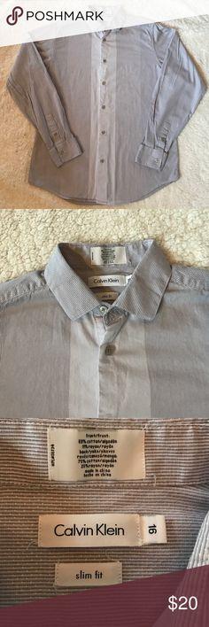 Calvin Klein Men's Shirt CK men's size 16 slim fit long-sleeved button-down shirt. Excellent condition! Smoke-free home. Bundle and save!!! Calvin Klein Shirts