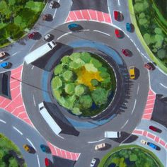 "Saatchi Art Artist Toni Silber-Delerive; Painting, ""Traffic Circle"" #art"
